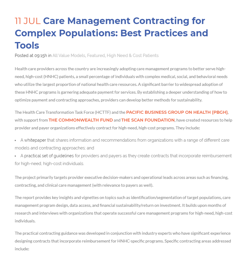 Care Management Contracting For Complex Populations Best Practices And Tools Playbook
